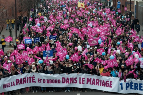 Manifestation contre le projet de mariage pour tous