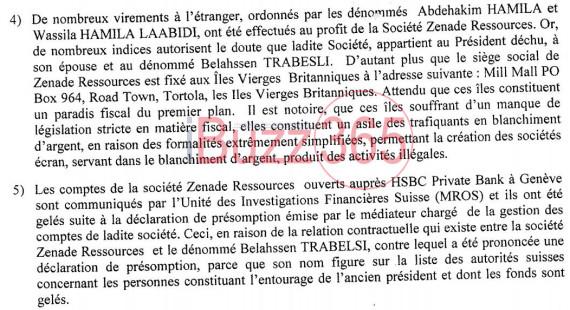 Les points 4 et 5 du rapport de la commission tunisienne des analyses financières prouvants l'implication du clan déchu ainsi