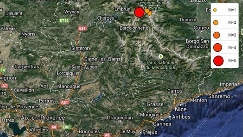 Tremblement de terre au sud-est de la France