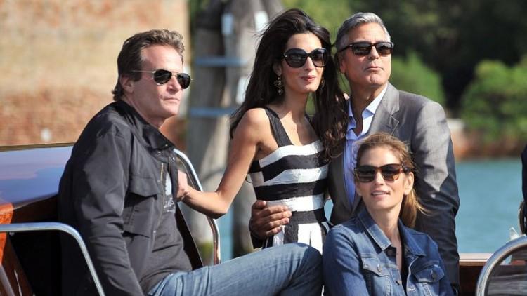 George Clooney, Amal Alamuddin et Cindy Crawford avec son mari Rande Gerber