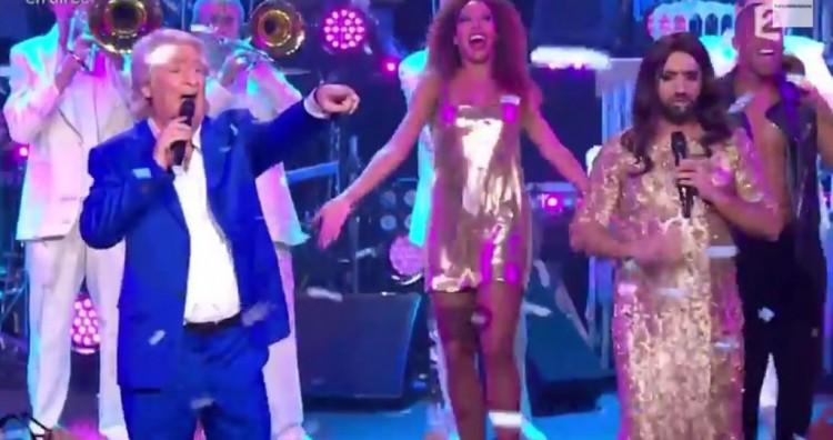Cyril Hanouna en Conchita Wurst et Patrick Sébastien