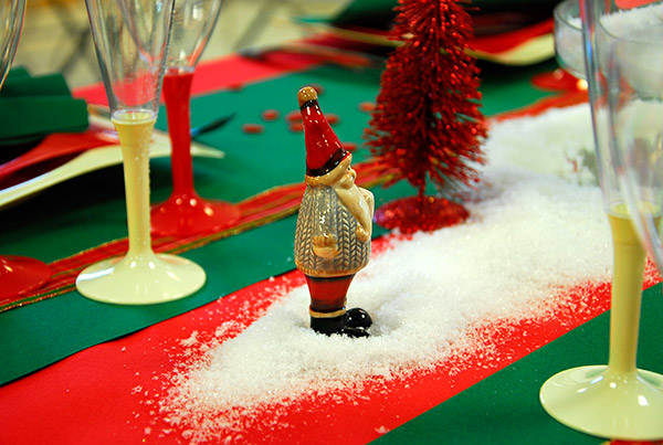 Le père Noël sur la table