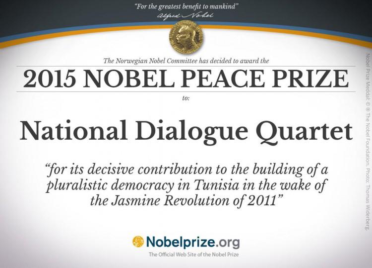 Certificat du Prix Nobel de la Paix 2015