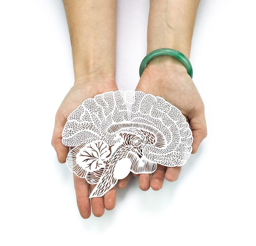 Découpe à la main représentant un cerveau