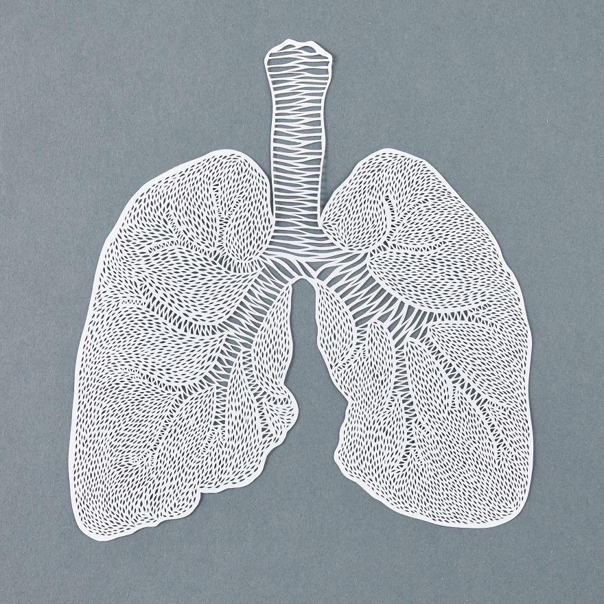 Découpe à la main représentant des poumons
