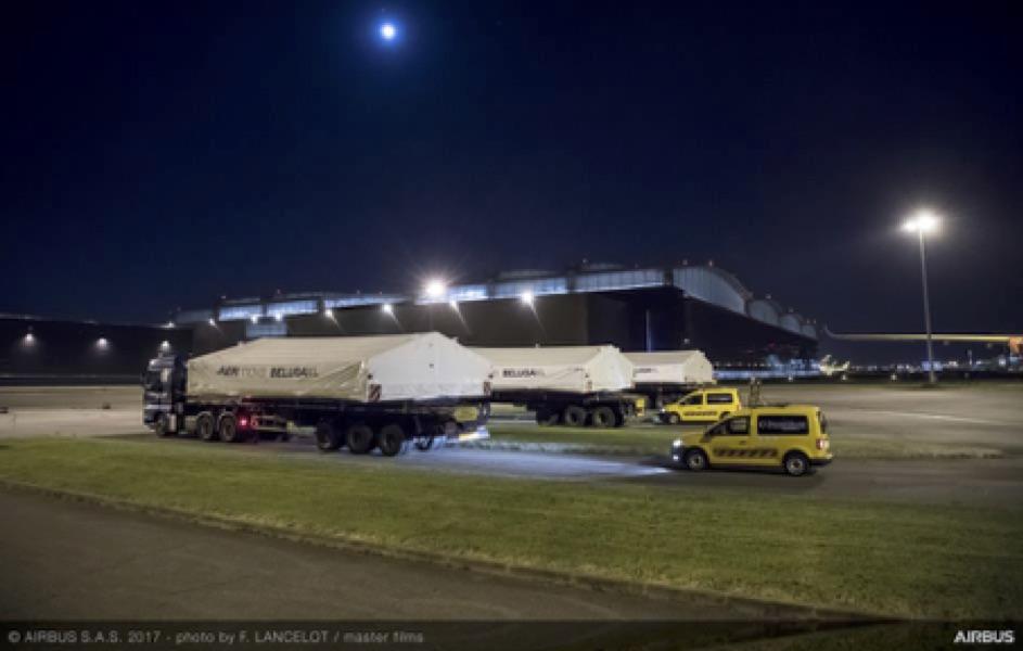 Le convoi routier des premières grandes sections du BelugaXL arrive à Toulouse (France)