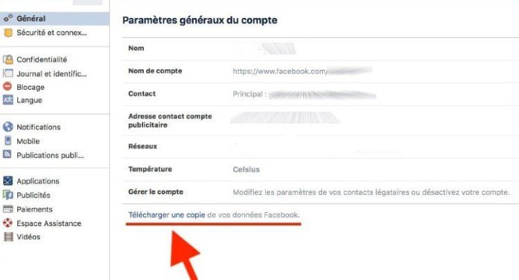 Télécharger toutes vos données Facebook
