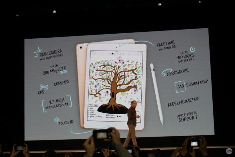 """Apple dévoile un nouvel iPad de 9,7"""" compatible avec le stylet d'Apple à seulement 299$"""