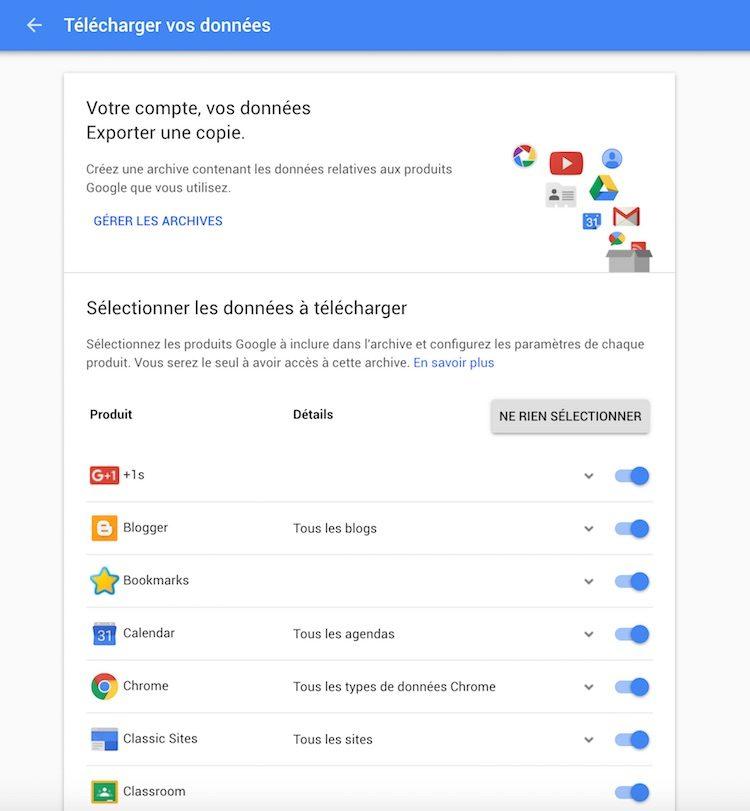 Google Takeout : Sélectionner les données et leurs types d'export