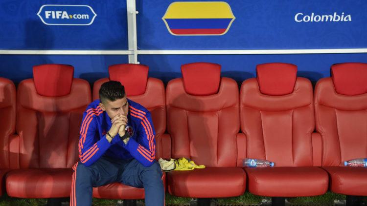 James Rodriguez en larmes après l'élimination de la Colombie